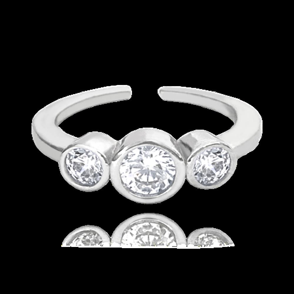 MINET Nastavitelný stříbrný prsten MINET se zirkony na nohu vel. 43
