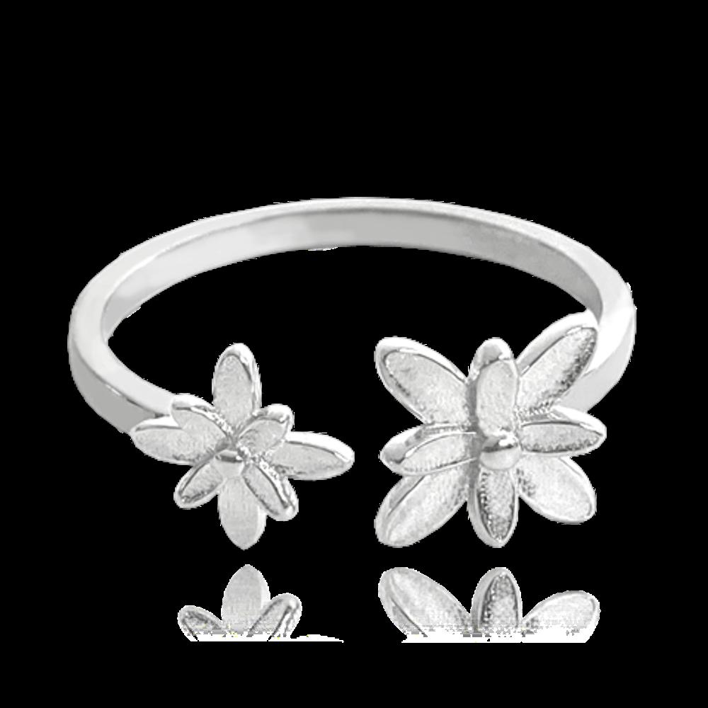 MINET Nastavitelný stříbrný prsten MINET FLOWERS na nohu vel. 48