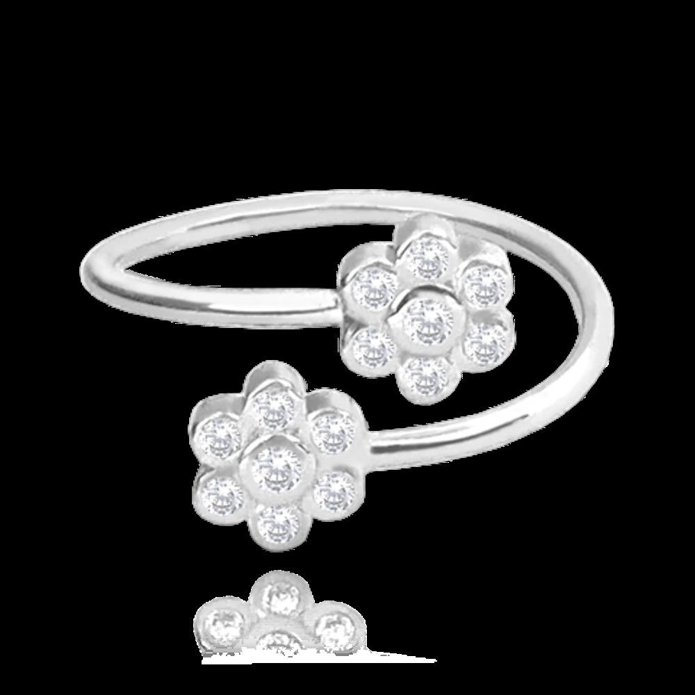 MINET Nastavitelný stříbrný prsten MINET FLOWERS se zirkony na nohu vel. 48