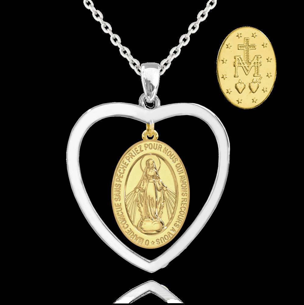 MINET Pozlacený stříbrný náhrdelník MINET Zázračná medaile   Medailka Neposkvrněného Početí v srdci