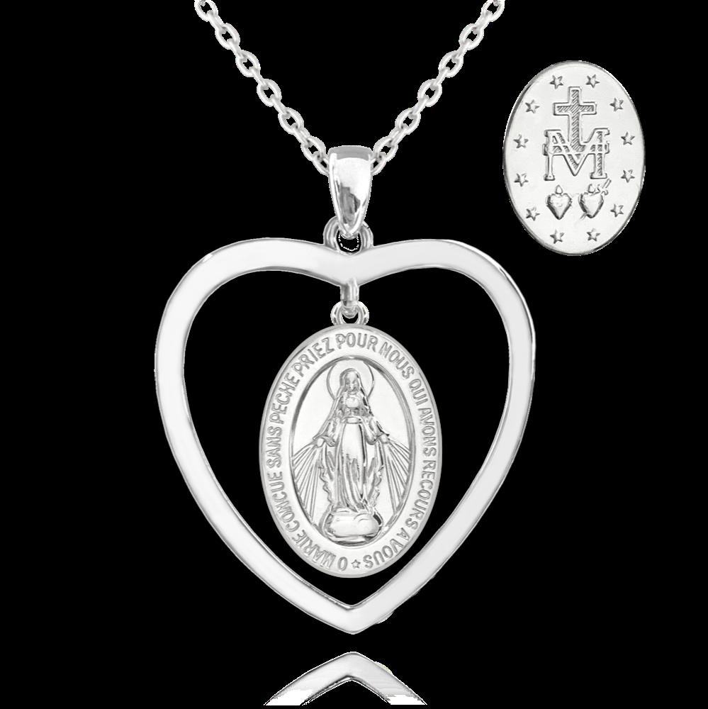 MINET Stříbrný náhrdelník MINET Zázračná medaile   Medailka Neposkvrněného Početí v srdci