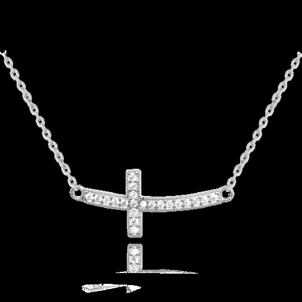 MINET Stříbrný náhrdelník MINET KŘÍŽ ležatý se zirkony JMAN0244SN45