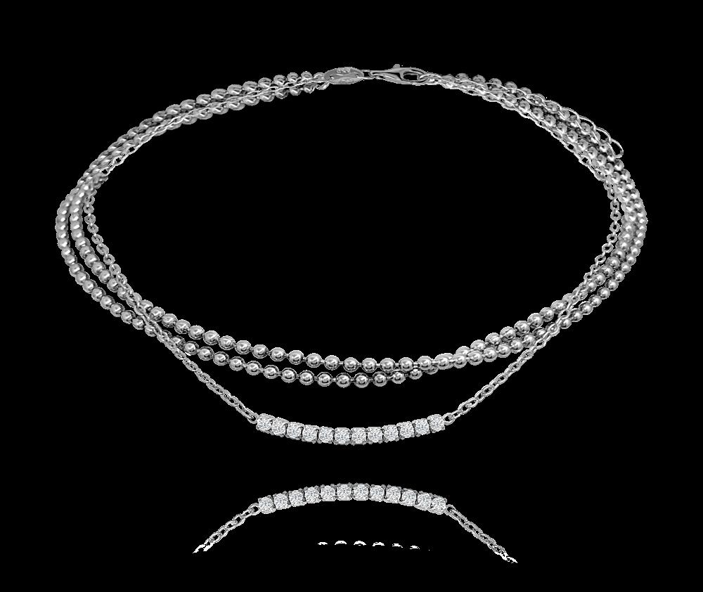 MINET Stříbrný řetízek na kotník MINET se zirkony JMAS8024SB24