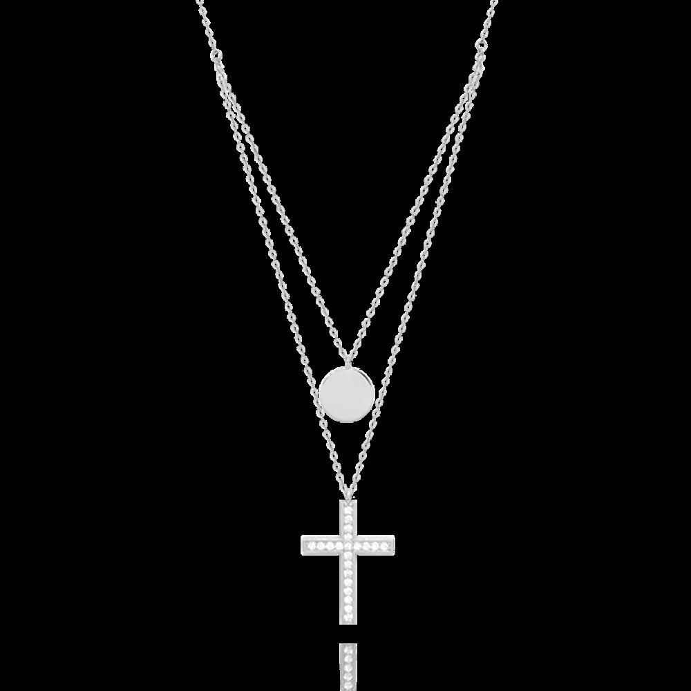 MINET Dvojitý stříbrný náhrdelník MINET KŘÍZEK s bílými zirkony