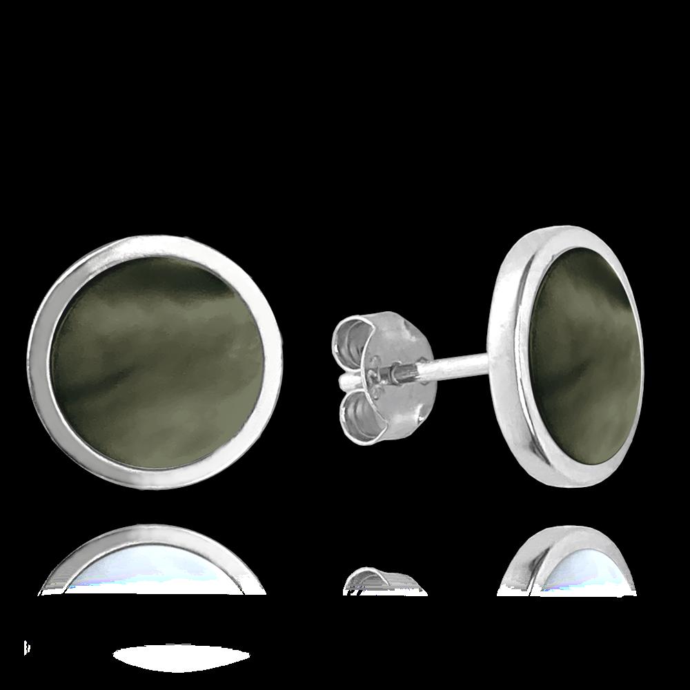 MINET Černé perleťové stříbrné náušnice MINET