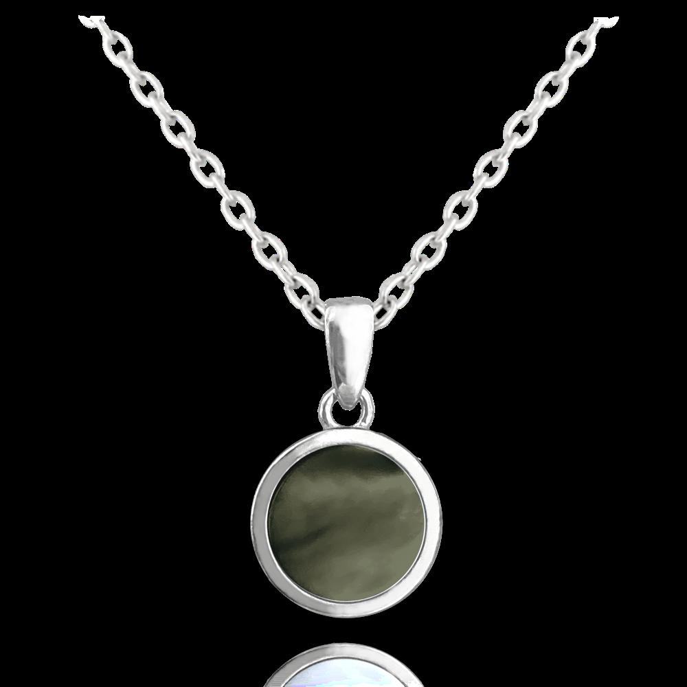 MINET Černý perleťový stříbrný náhrdelník MINET