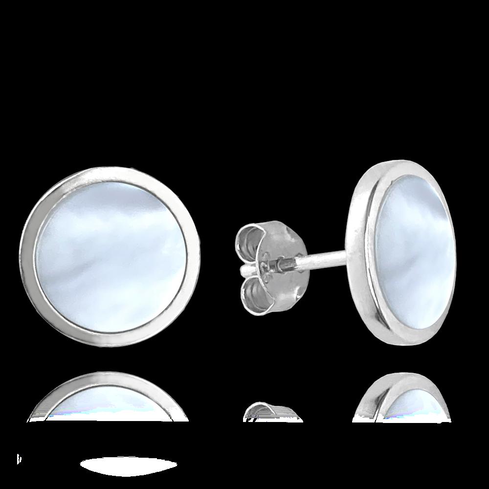 MINET Bílé perleťové stříbrné náušnice MINET
