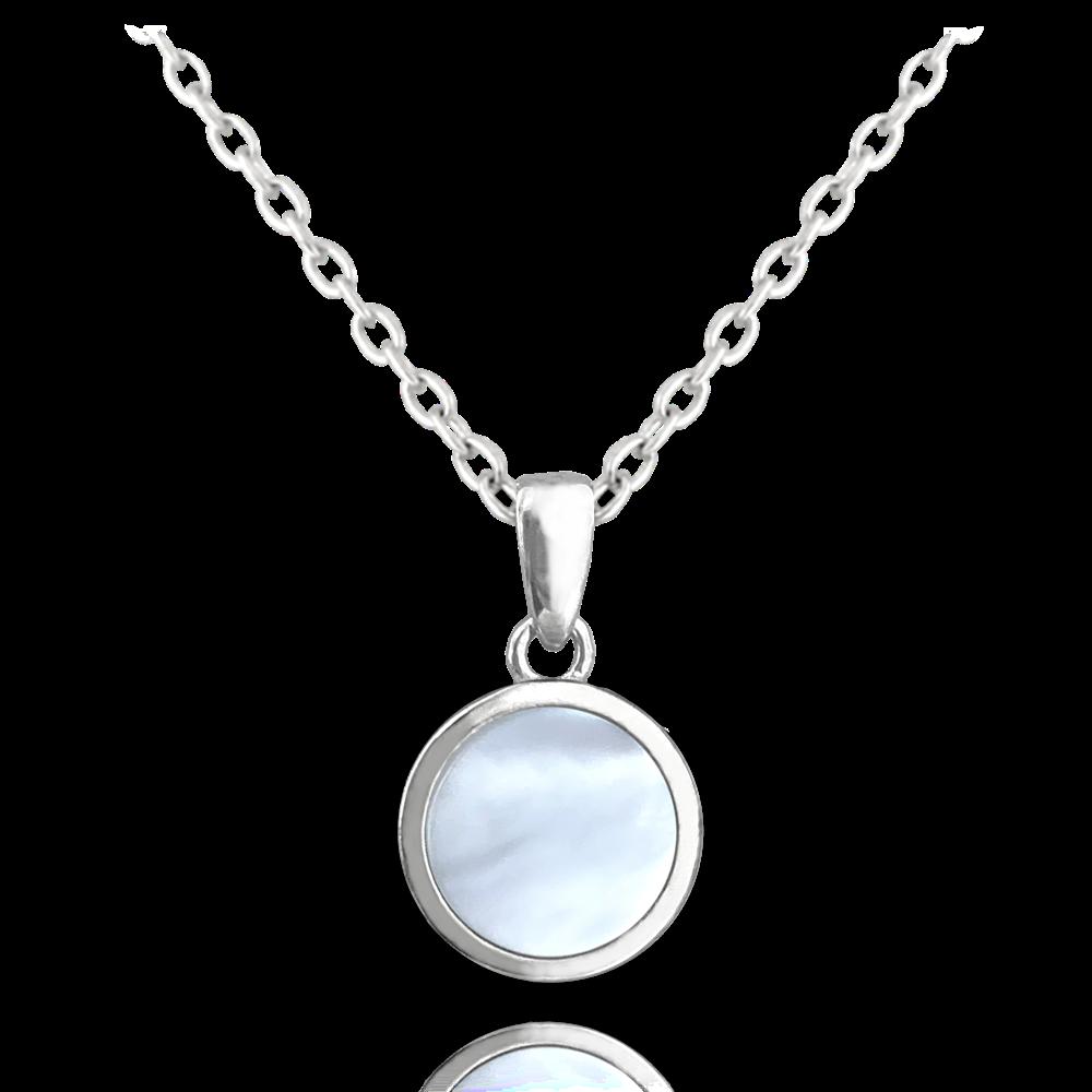 MINET Bílý perleťový stříbrný náhrdelník MINET JMAS0116WN45