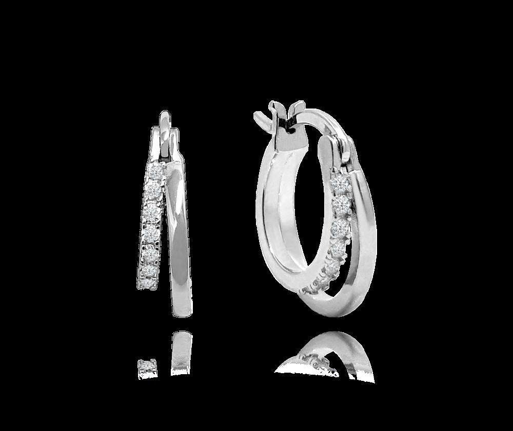 MINET Luxusní stříbrné náušnice MINET s bílými zirkony
