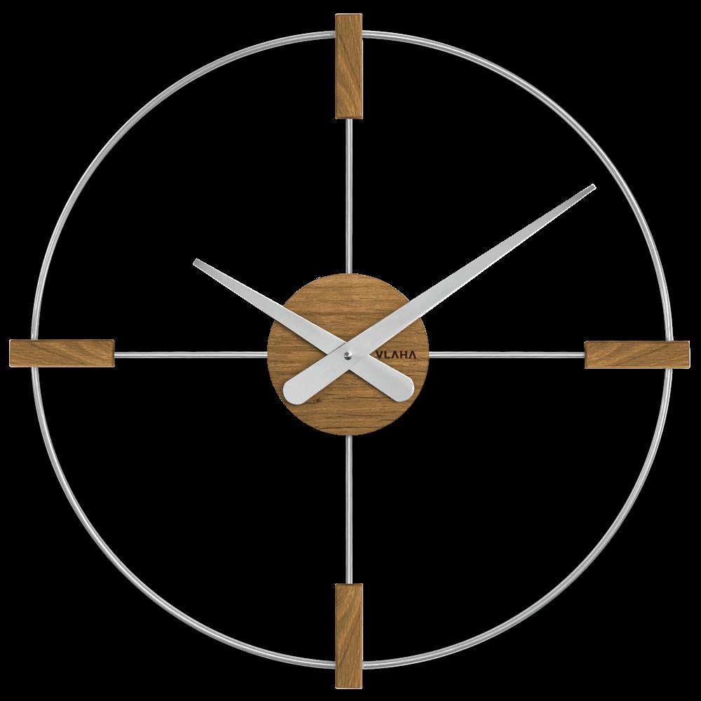VLAHA Dřevěné stříbrné hodiny VLAHA STUDIO vyrobené v Čechách VCT1051