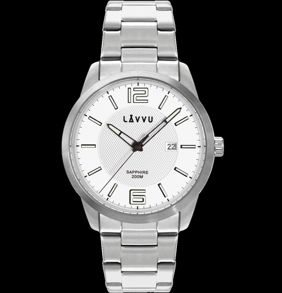 LAVVU 20 ATM Pánské hodinky se safírovým sklem LAVVU DYKKER Silver LWM0190