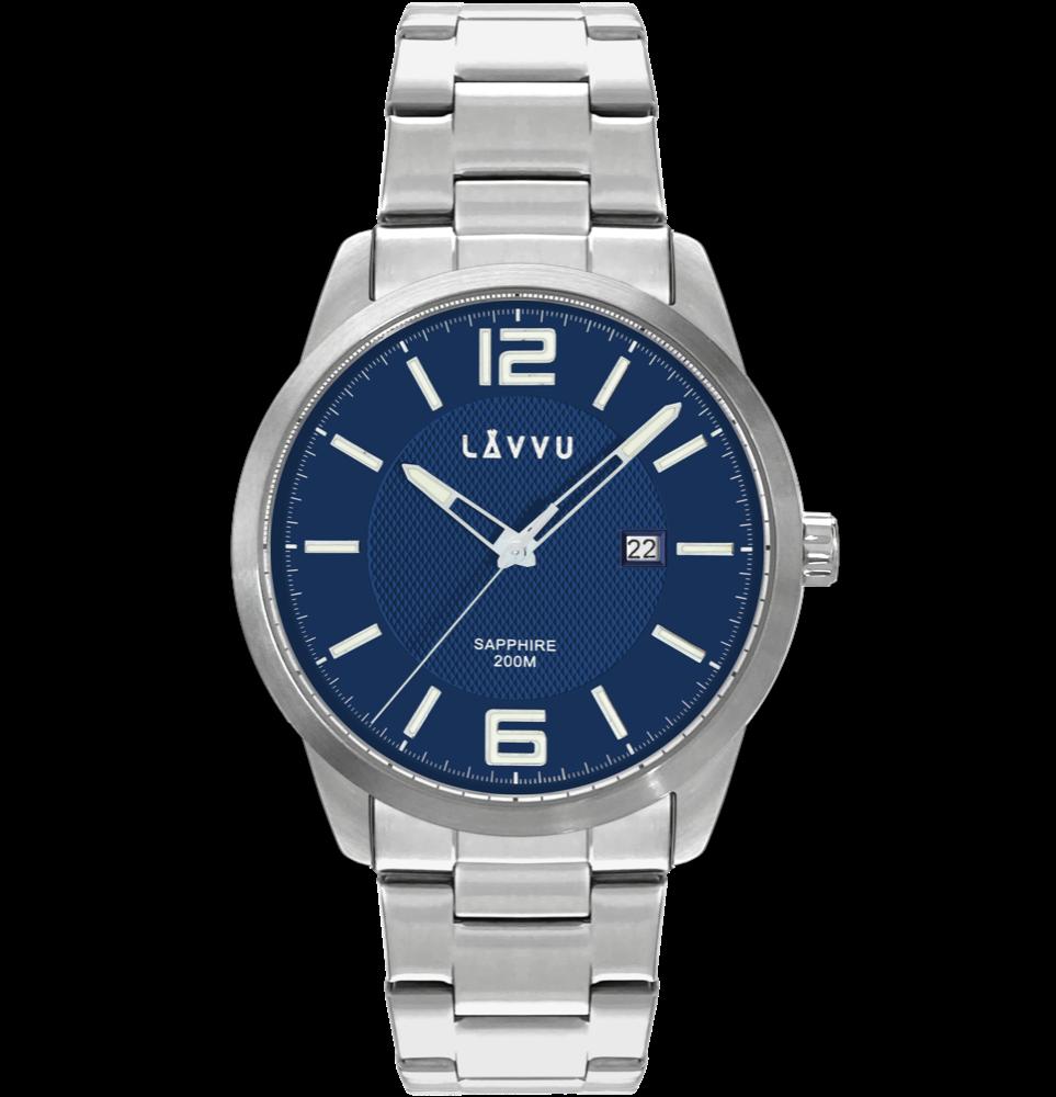 LAVVU 20 ATM Pánské hodinky se safírovým sklem LAVVU DYKKER Blue LWM0191
