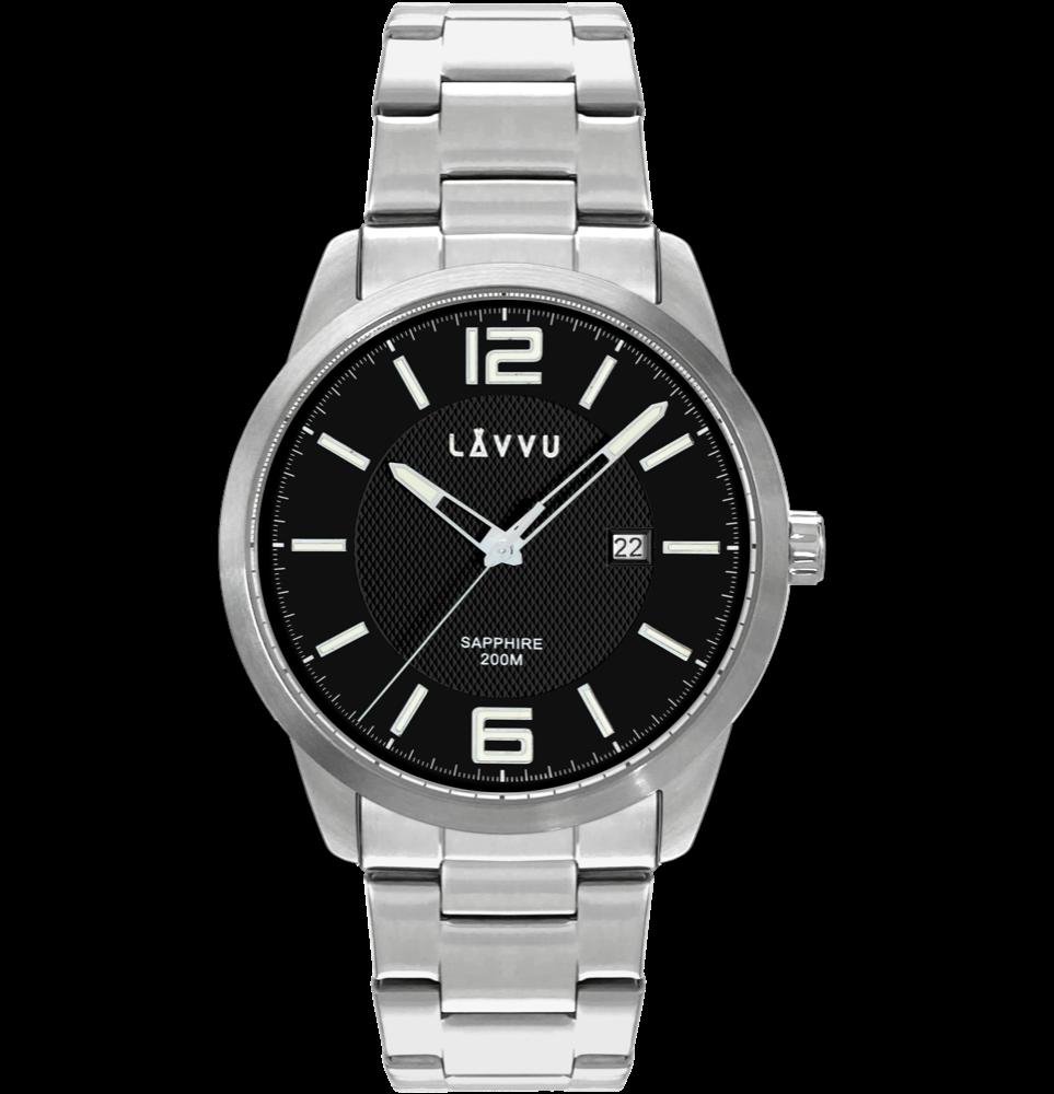 LAVVU 20 ATM Pánské hodinky se safírovým sklem LAVVU DYKKER Black LWM0192