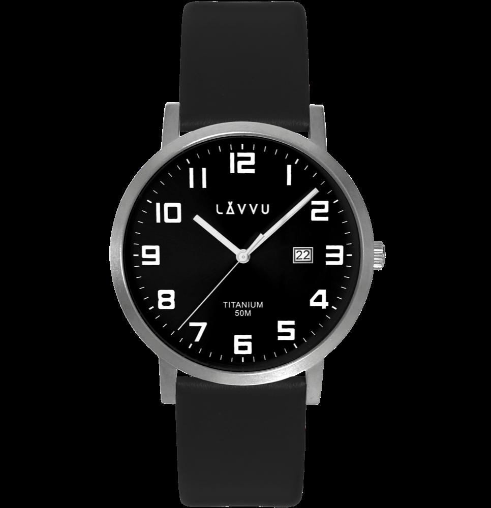 LAVVU Extrémně lehké titanové hodinky LAVVU TITANIUM LYNGDAL Black LWM0211