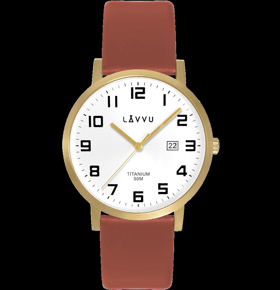 LAVVU Extrémně lehké titanové hodinky LAVVU TITANIUM LYNGDAL Gold LWM0212
