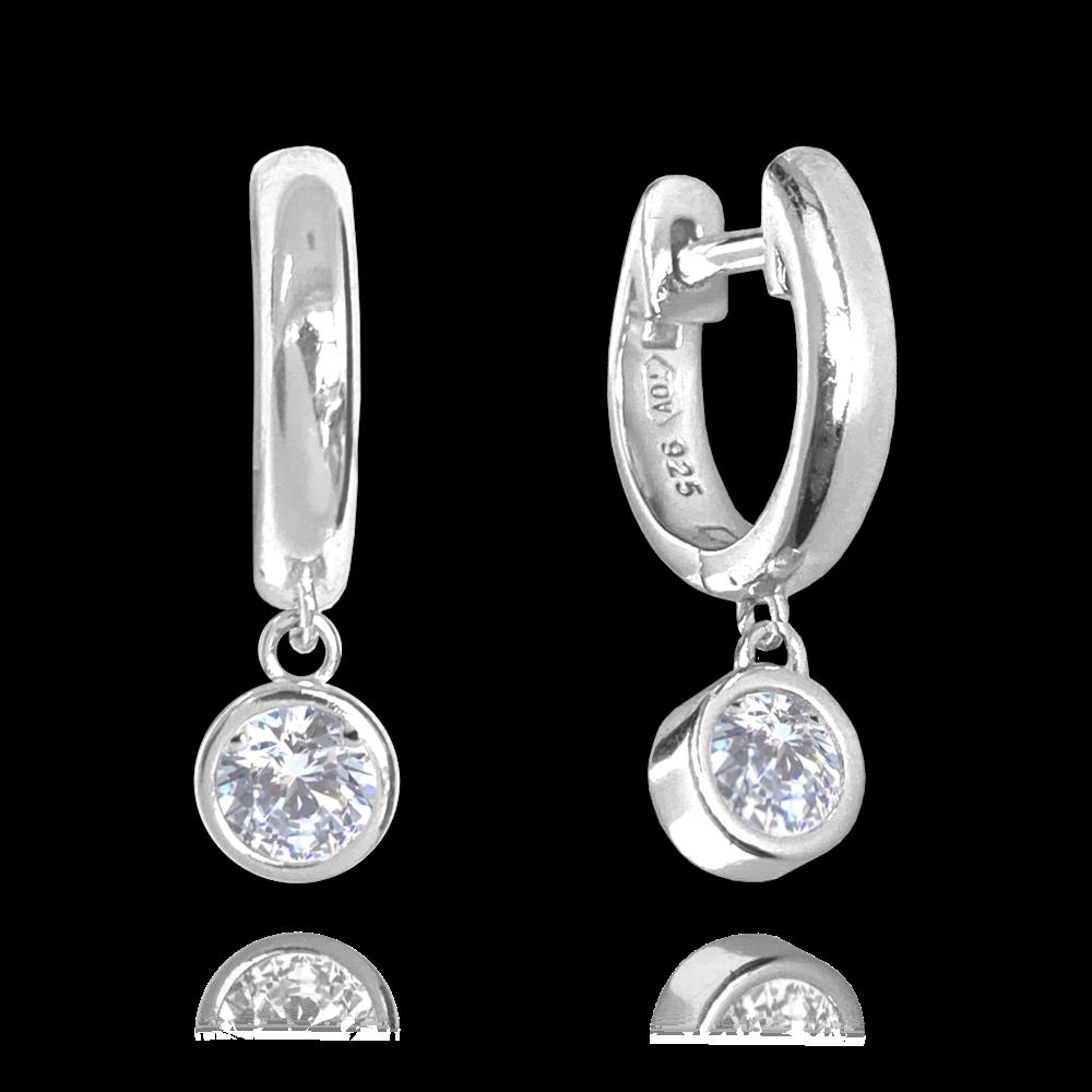 MINET Decentní stříbrné náušnice MINET s bílými zirkony JMAN0251SE00