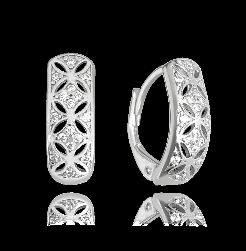 MINET Luxusní stříbrné náušnice MINET s bílými zirkony JMAN0253SE00