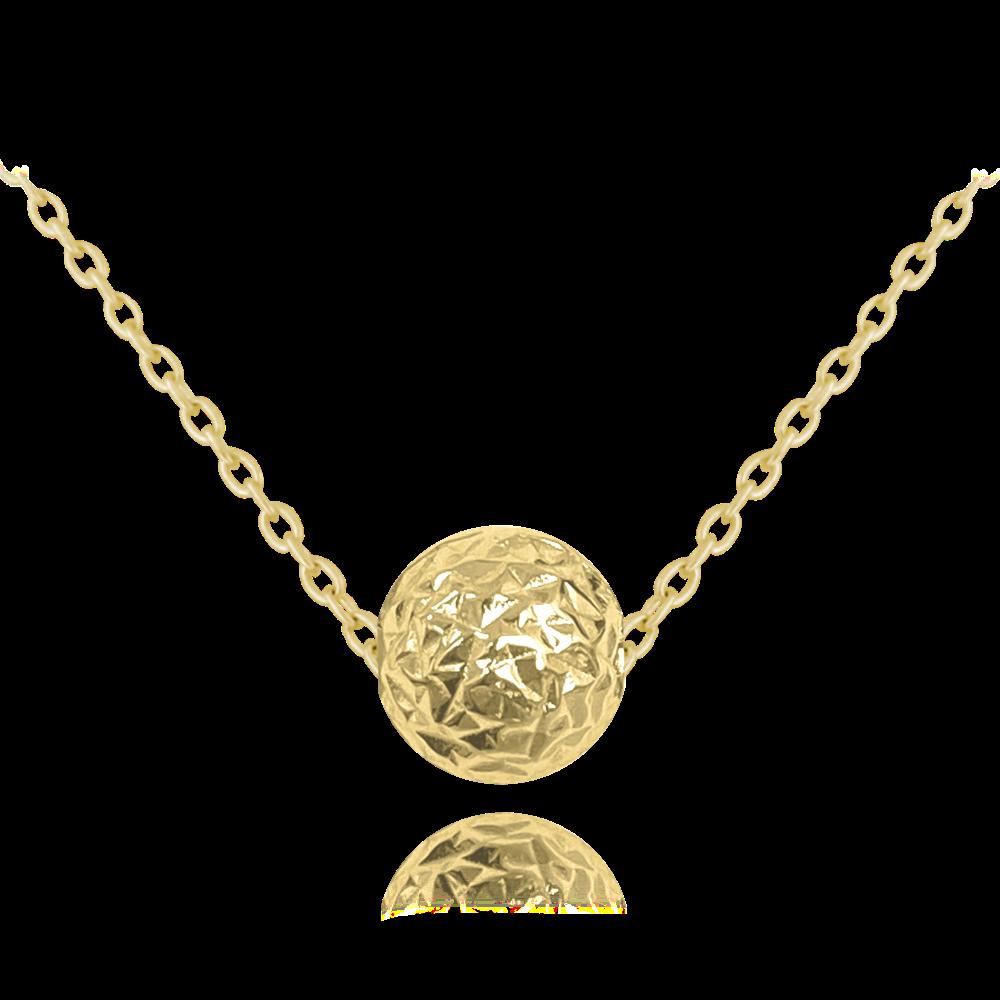 MINET Pozlacený broušený stříbrný náhrdelník MINET KULIČKA JMAS0117GN45