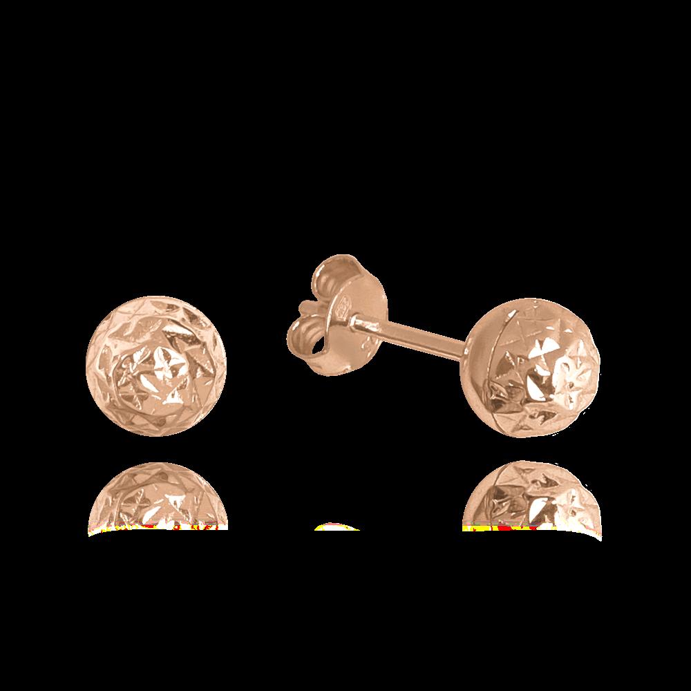 MINET Rose gold broušené stříbrné náušnice MINET KULIČKY JMAS0117RE00
