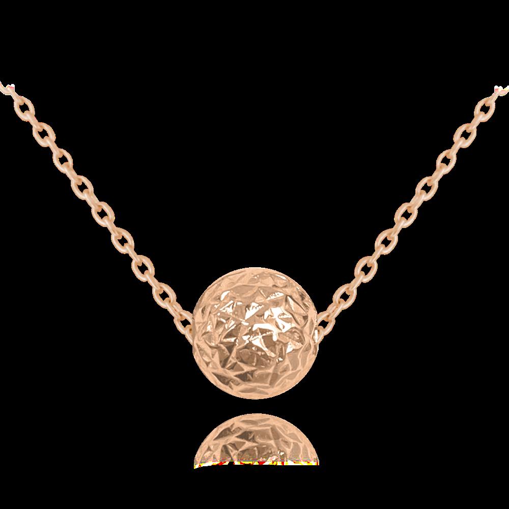 MINET Rose gold broušený stříbrný náhrdelník MINET KULIČKA JMAS0117RN45