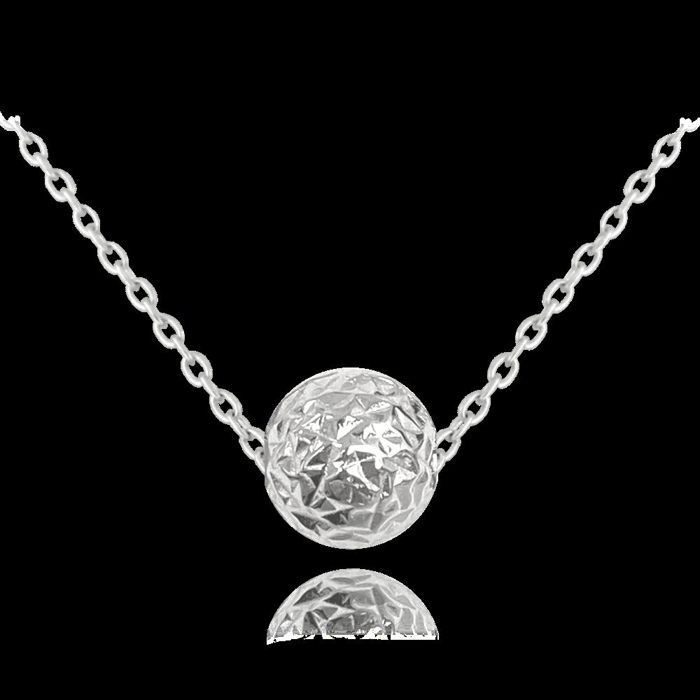 MINET Broušený stříbrný náhrdelník MINET KULIČKA JMAS0117SN45