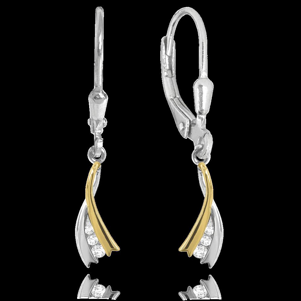 MINET Elegantní stříbrné pozlacené náušnice MINET s bílými zirkony JMAS0123GE00