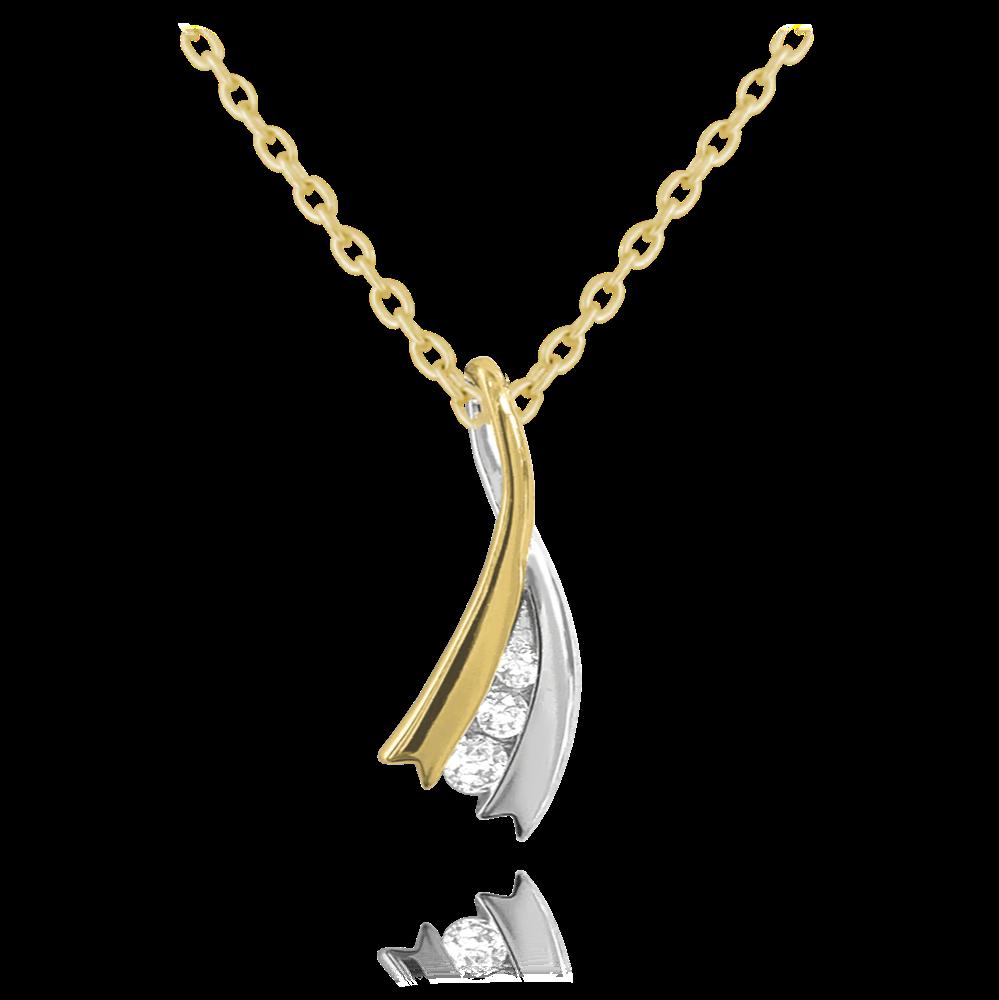 MINET Elegantní pozlacený stříbrný náhrdelník MINET s bílými zirkony JMAS0123GN45