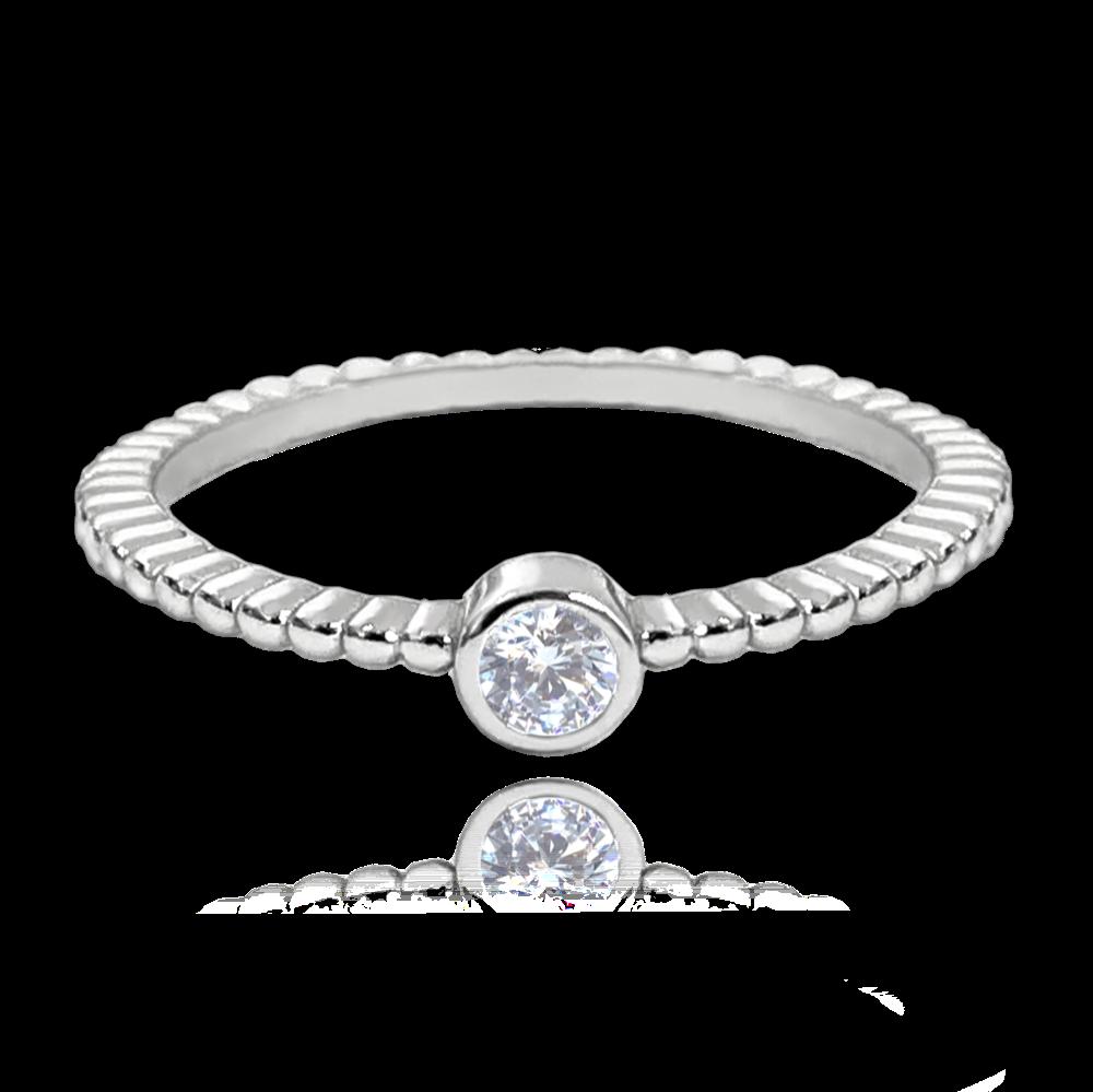 MINET Kuličkový stříbrný prsten MINET se zirkonem vel. 55 JMAS0121SR55