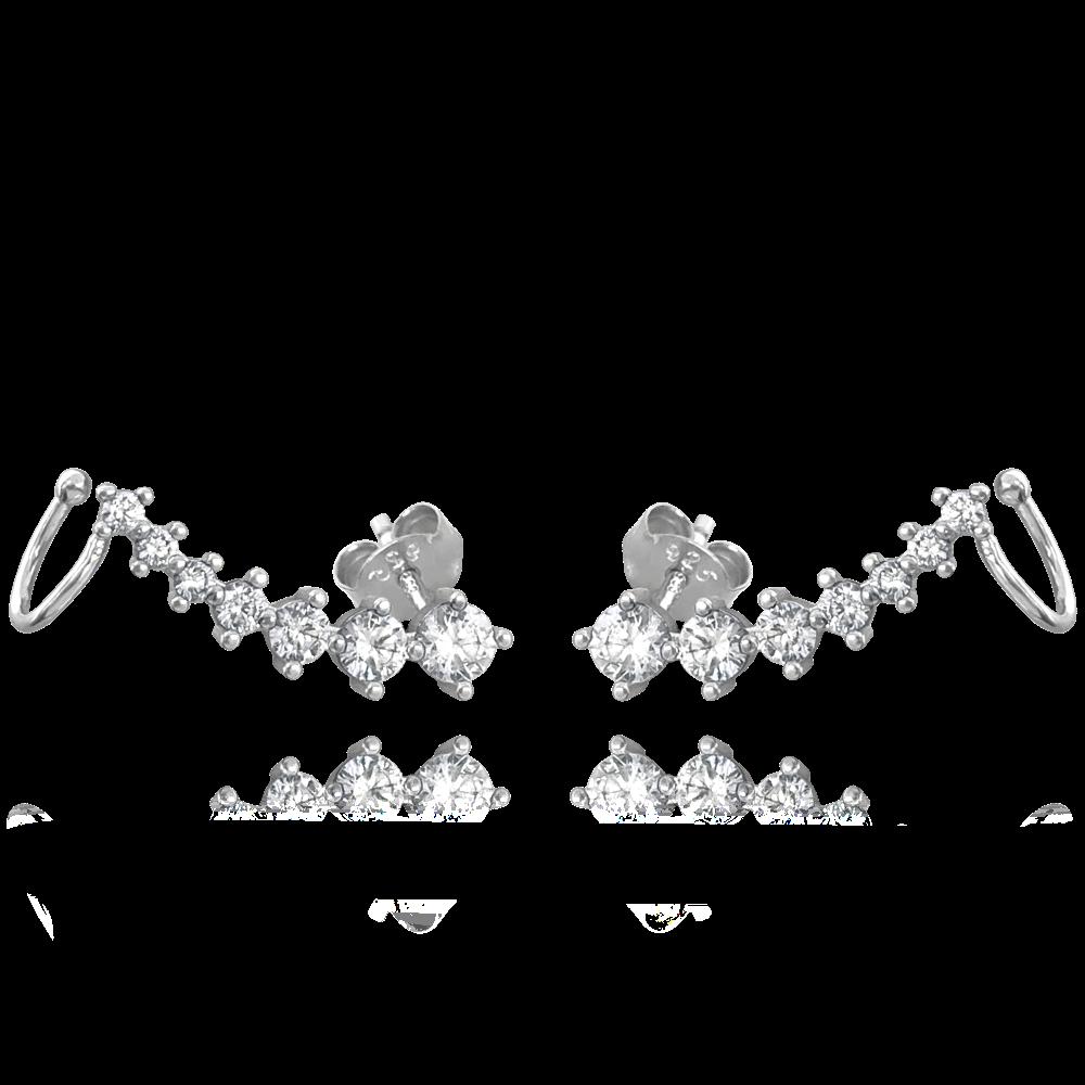 MINET Elegantní stříbrné náušnice MINET s bílými zirkony JMAN0254SE00