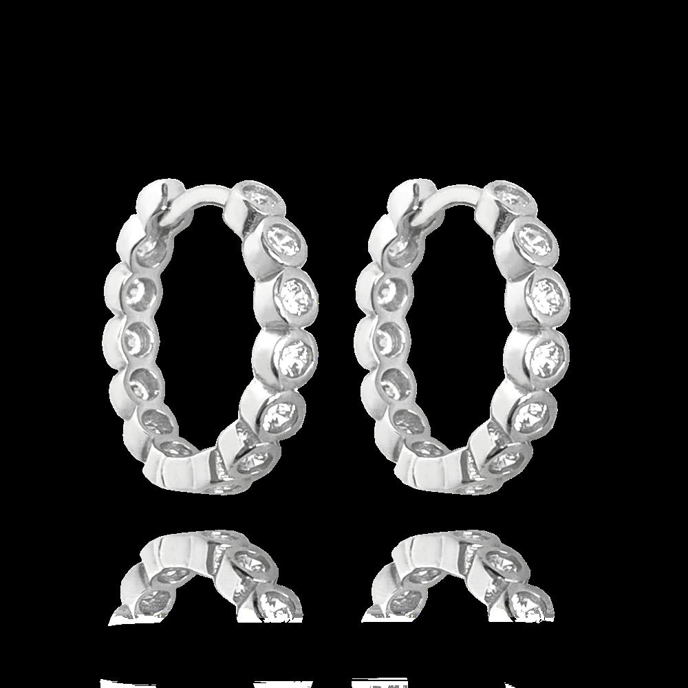 MINET Stříbrné náušnice MINET KROUŽKY s bílými zirkony JMAS0122SE00