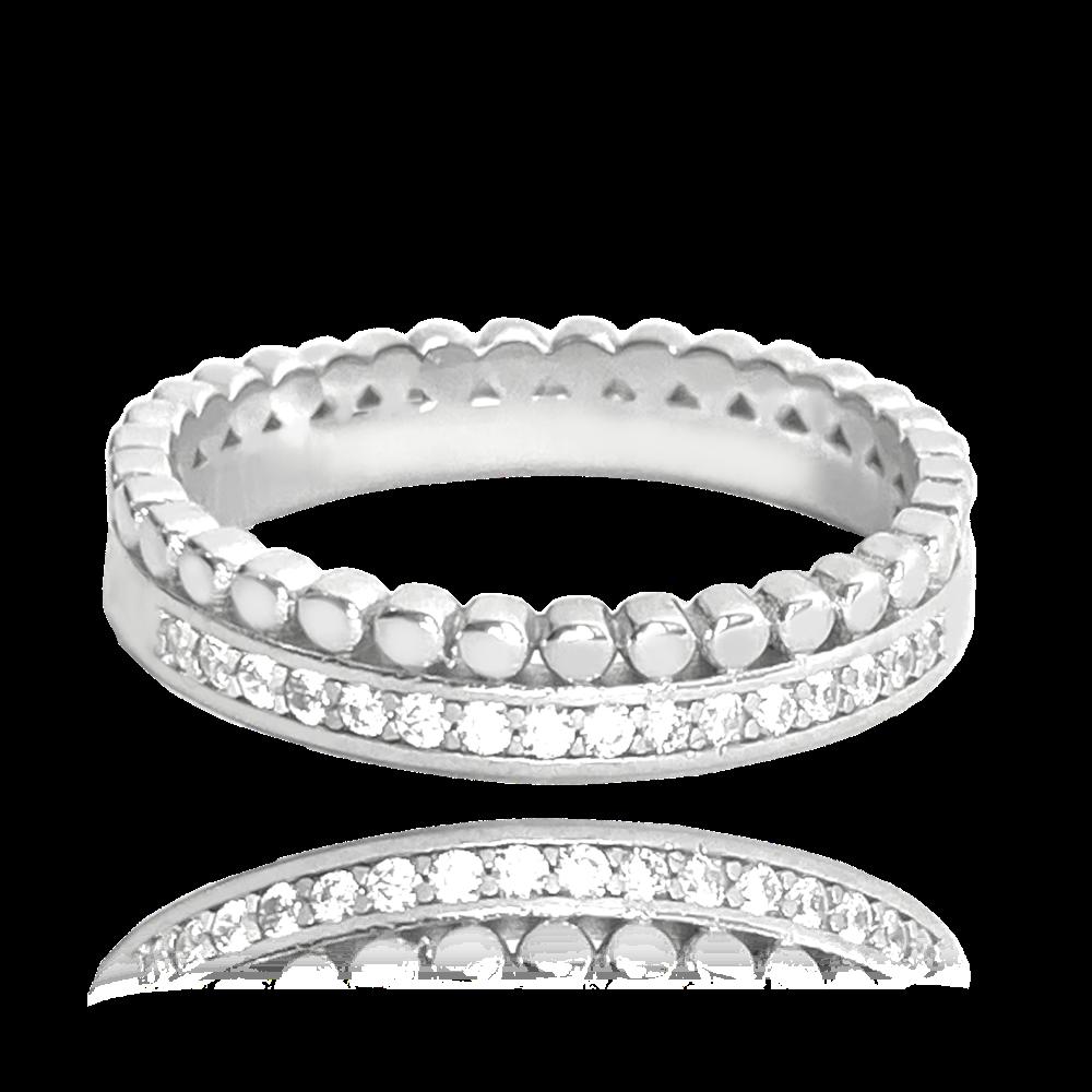 MINET Dvojitý stříbrný prsten MINET s bílými zirkony vel. 58 JMAS0122SR58