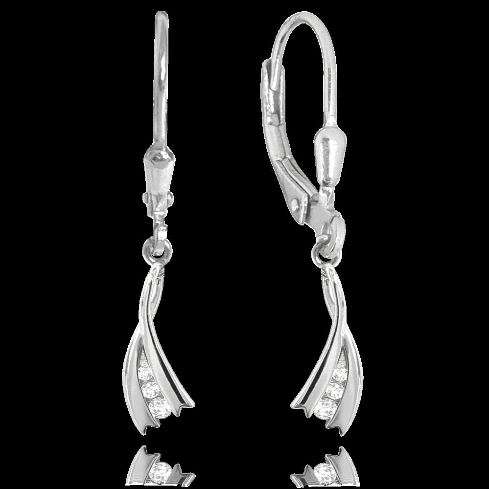 MINET Elegantní stříbrné náušnice MINET s bílými zirkonyJMAS0123SE00