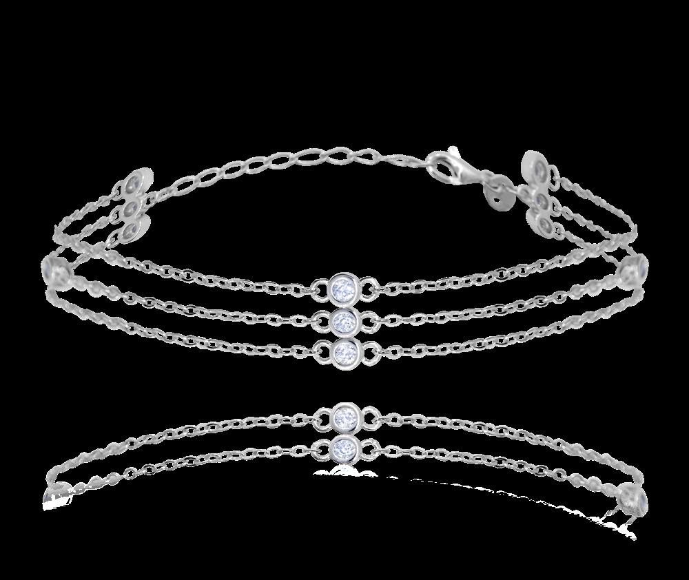 MINET Trojitý stříbrný náramek MINET se zirkony JMAN0247SB17