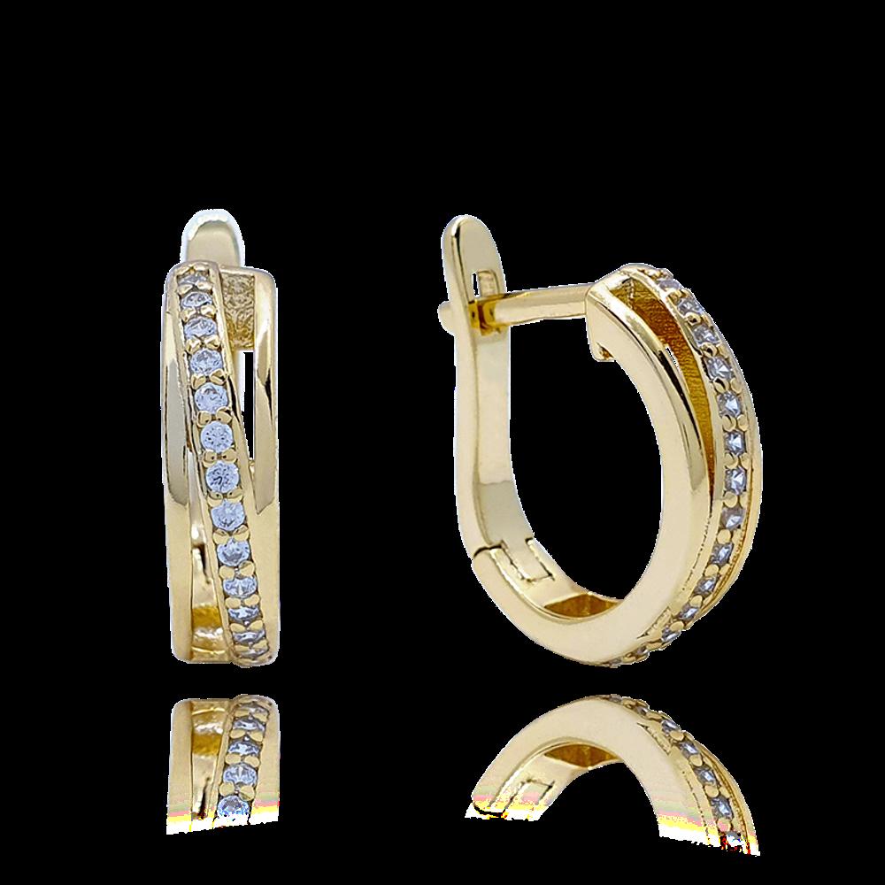 MINET Luxusní pozlacené stříbrné náušnice MINET s bílými zirkony JMAS0118GE00