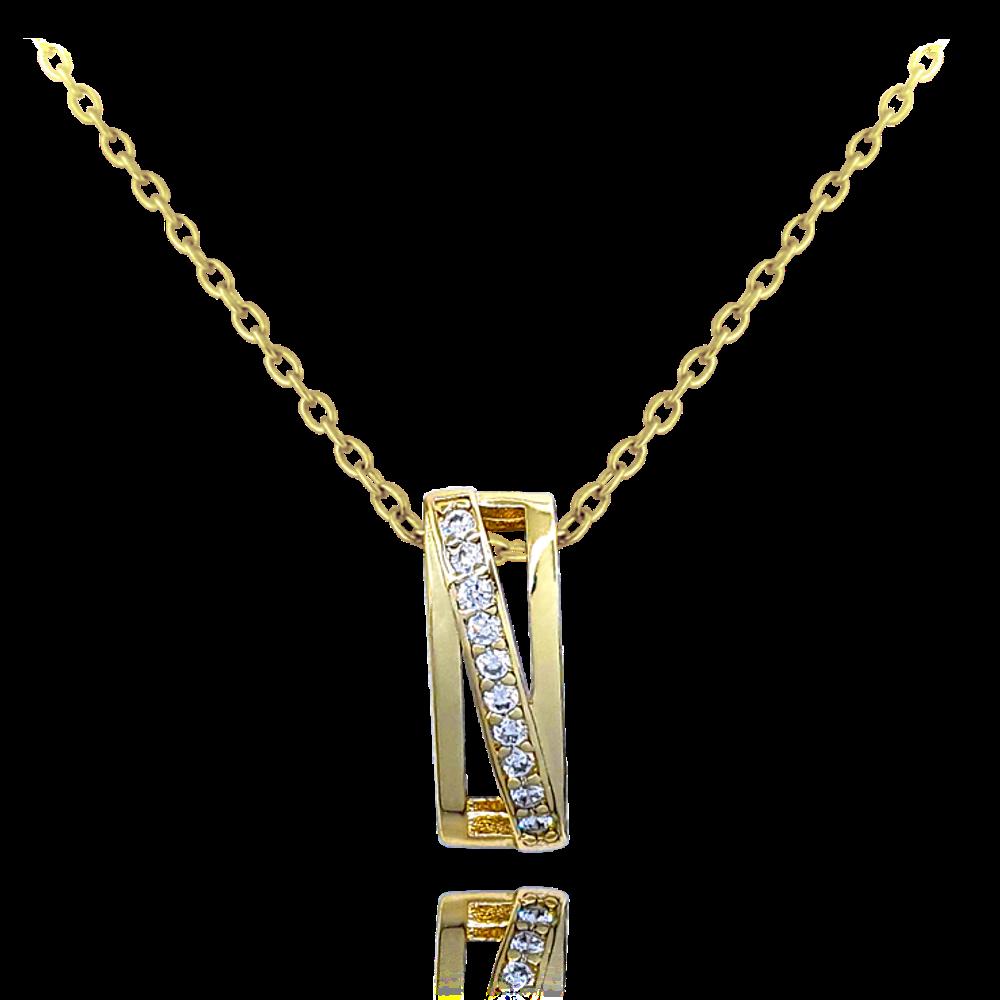 MINET Luxusní stříbrný pozlacený náhrdelník MINET s bílými zirkony JMAS0118GN45