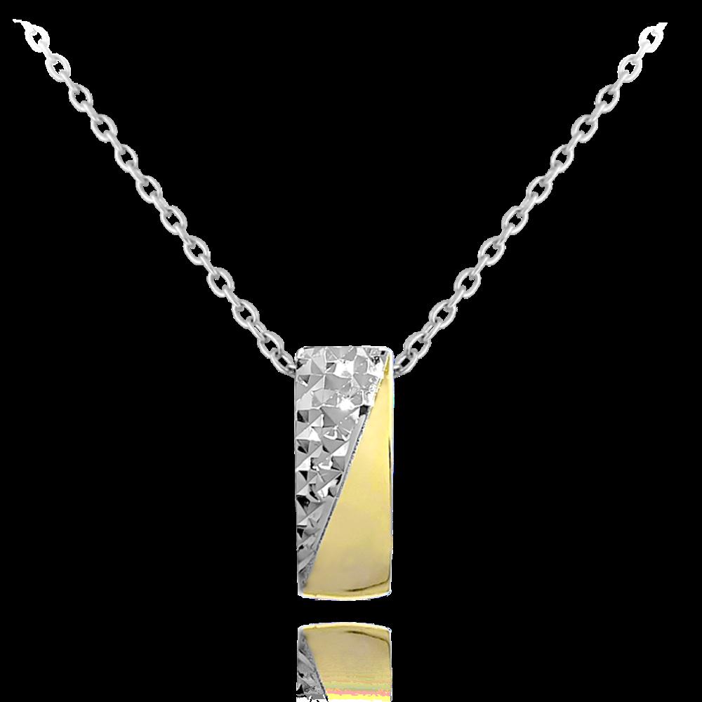 MINET Luxusní stříbrný pozlacený náhrdelník MINET JMAS0119GN45