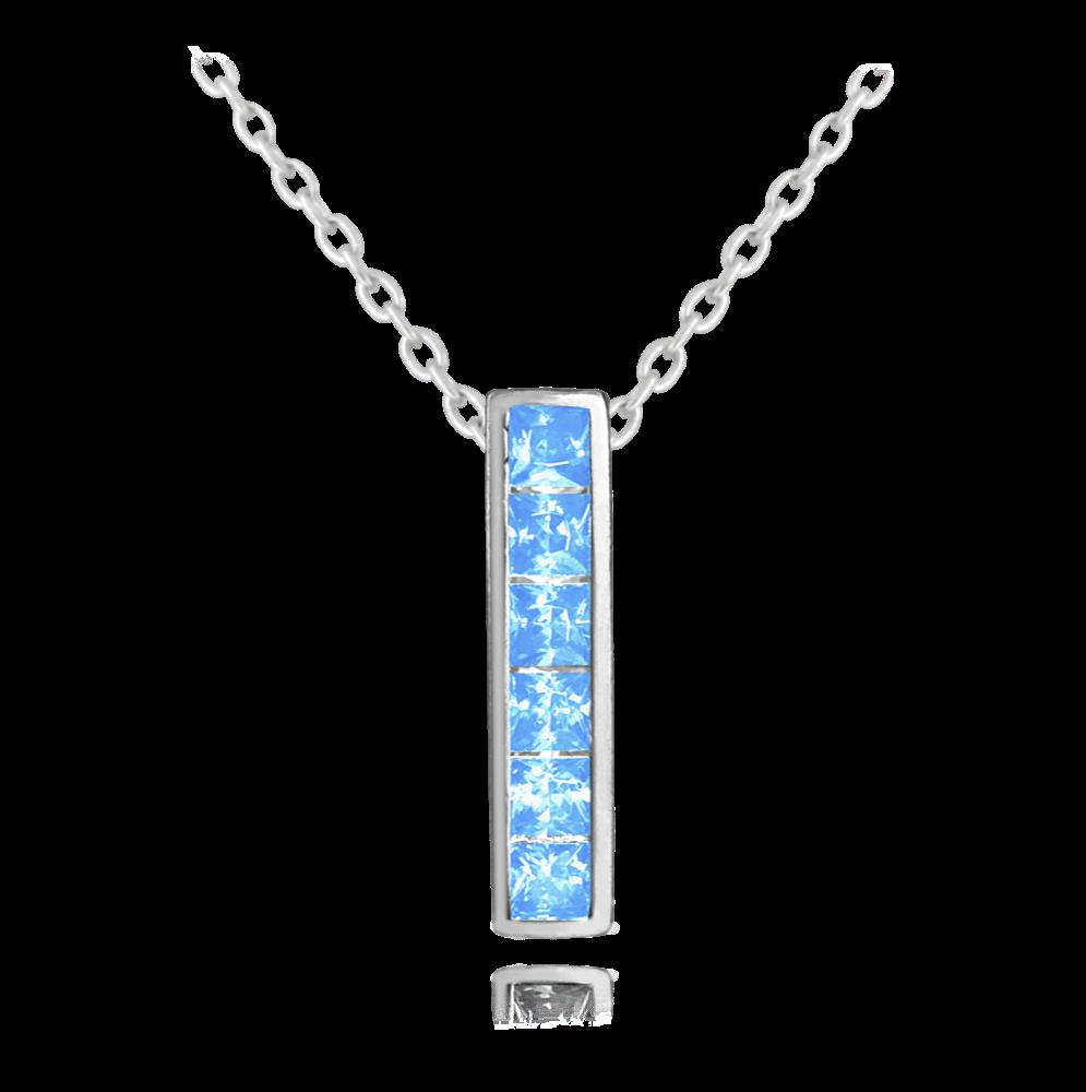 Třpytivý stříbrný náhrdelník MINET s velkými světle modrými zirkony