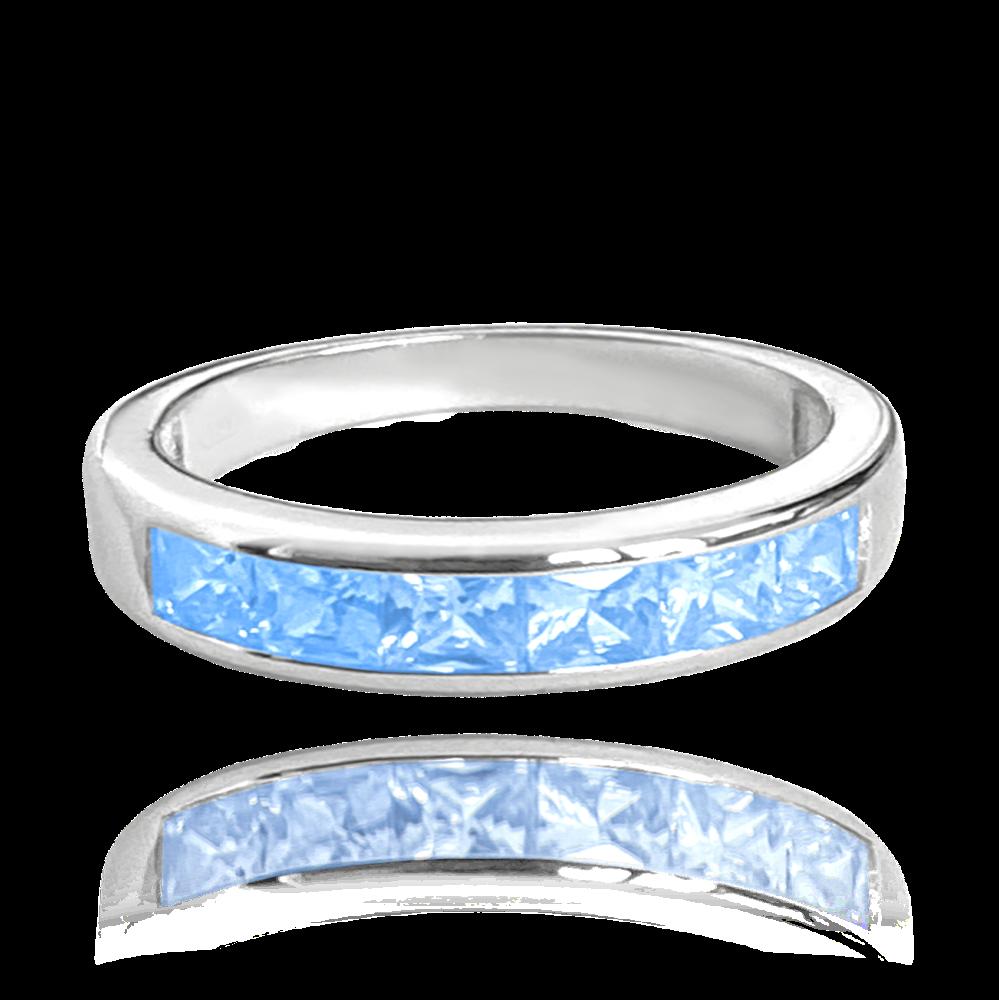 Stříbrný prsten MINET s velkými světle modrými zirkony vel. 56