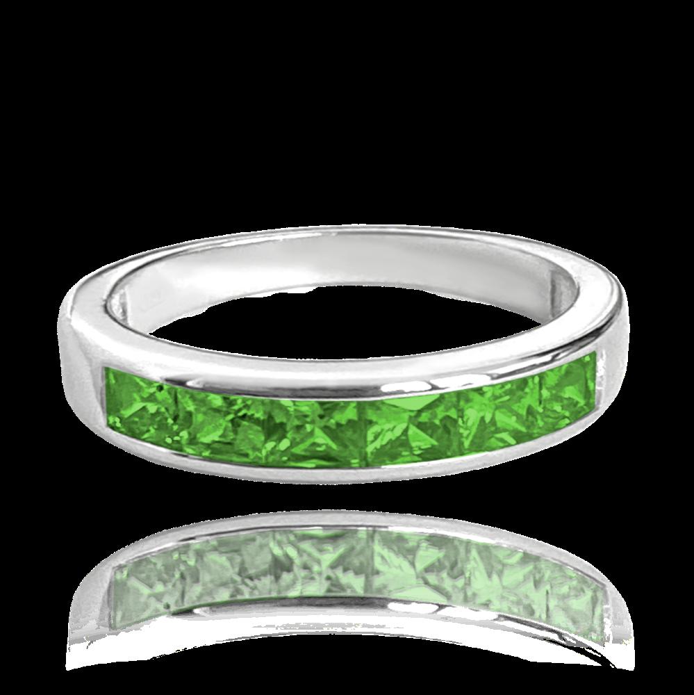 Stříbrný prsten MINET s velkými zelenými zirkony vel. 48