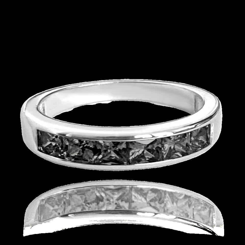 MINET Třpytivý stříbrný náhrdelník MINET s velkými černými zirkony JMAN0025NN45