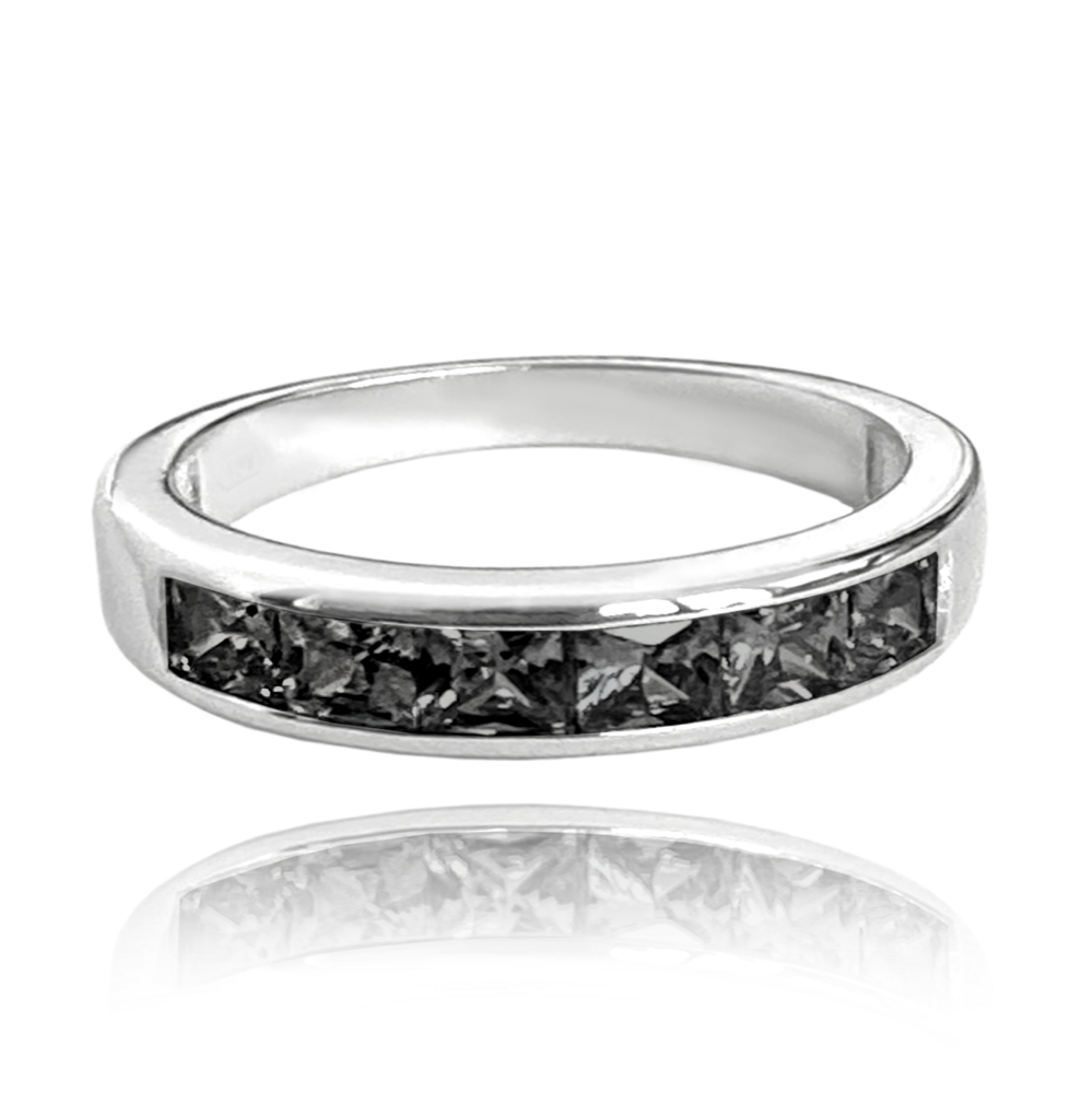 MINET Stříbrný prsten MINET s velkými černými zirkony vel. 48 JMAN0025NR48