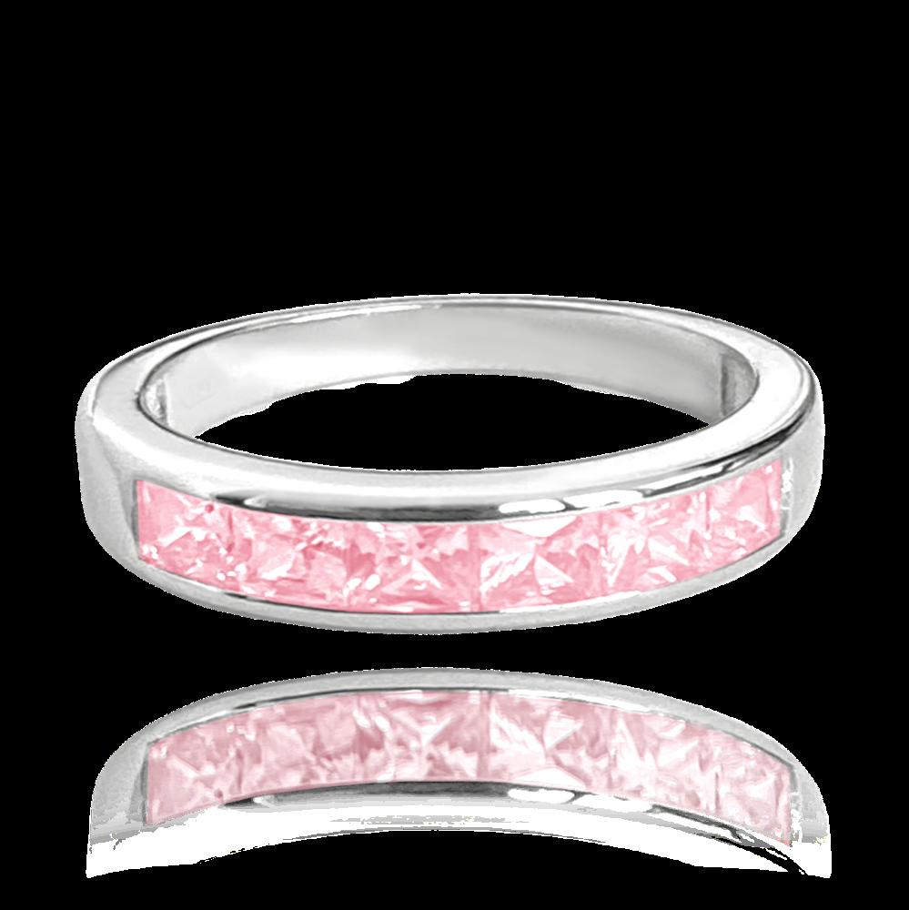 MINET Stříbrný prsten MINET s velkými růžovými zirkony vel. 50 JMAN0025PR50