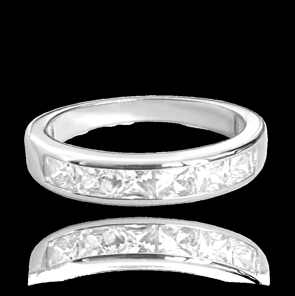 MINET Stříbrný prsten MINET s velkými bílými zirkony vel. 58 JMAN0025SR58