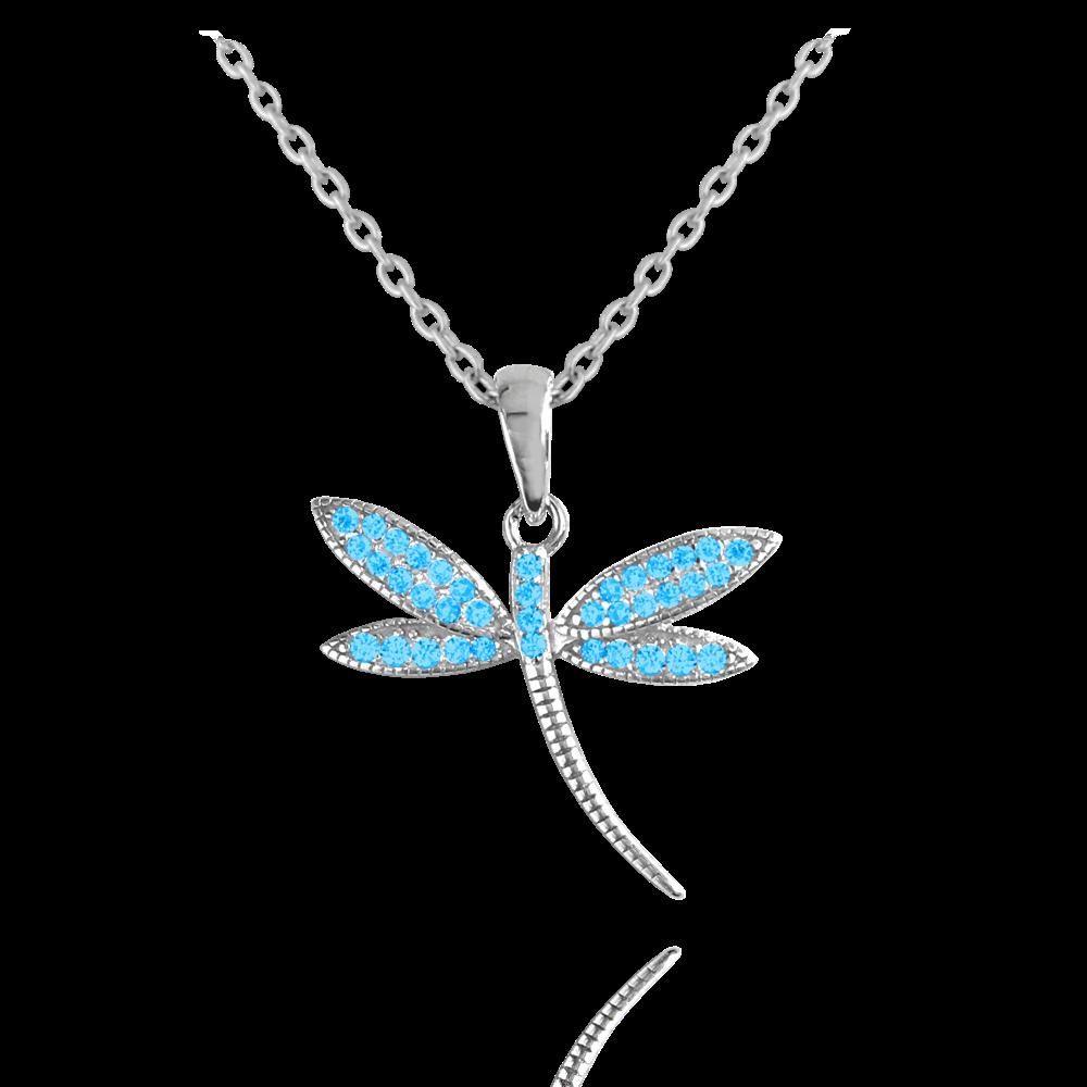 MINET Stříbrný náhrdelník MINET VÁŽKA se světle modrými zirkony JMAS5037AN45