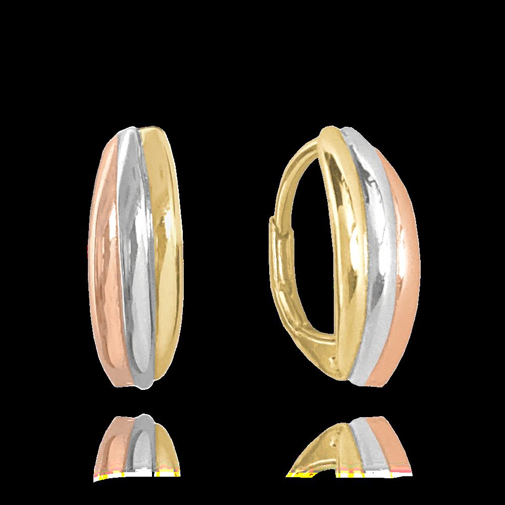 MINET Trojbarevné elegantní stříbrné náušnice MINET JMAN0255ME00