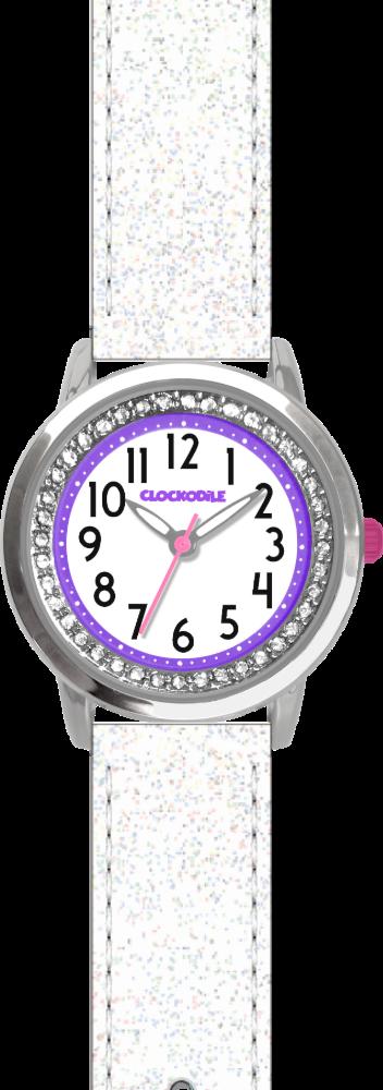 CLOCKODILE Bílé třpytivé dívčí dětské hodinky se kamínky CLOCKODILE SPARKLE CWG5121