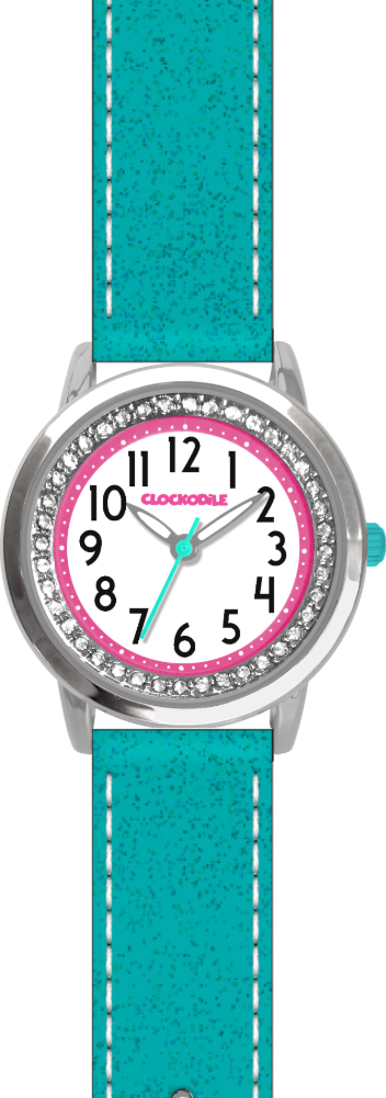 CLOCKODILE Tyrkysové třpytivé dívčí dětské hodinky se kamínky CLOCKODILE SPARKLE CWG5122