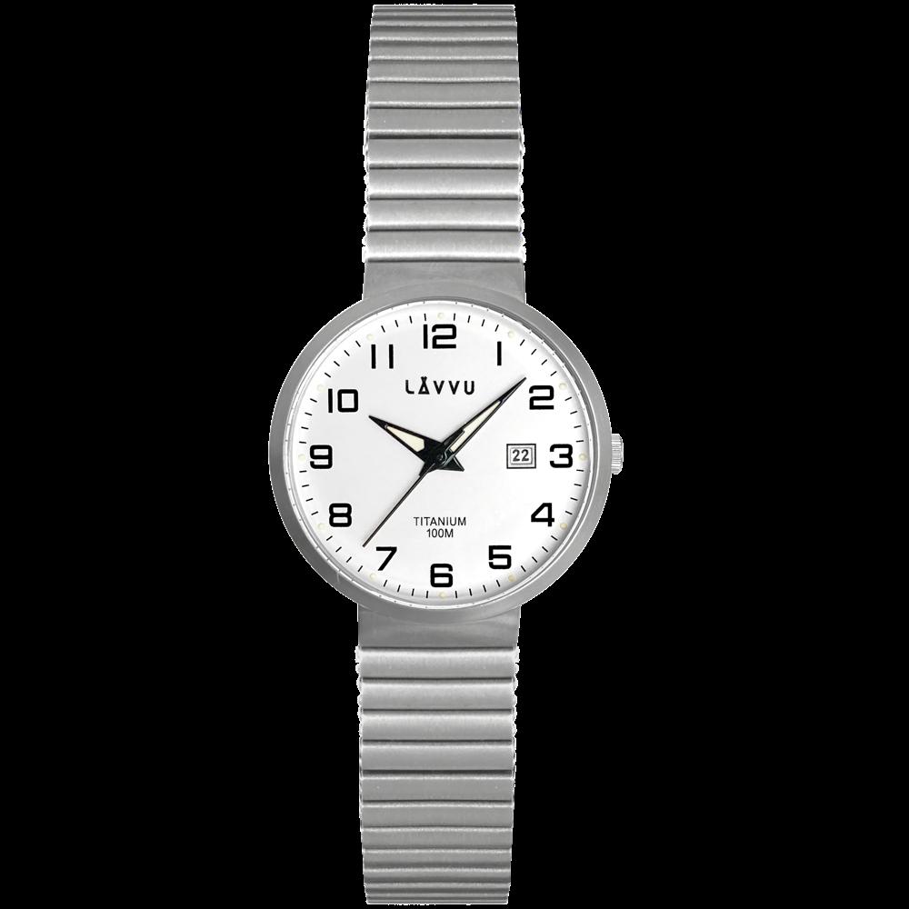 Titanové pružné hodinky s vodotěsností 100M LAVVU LUNDEN Small White