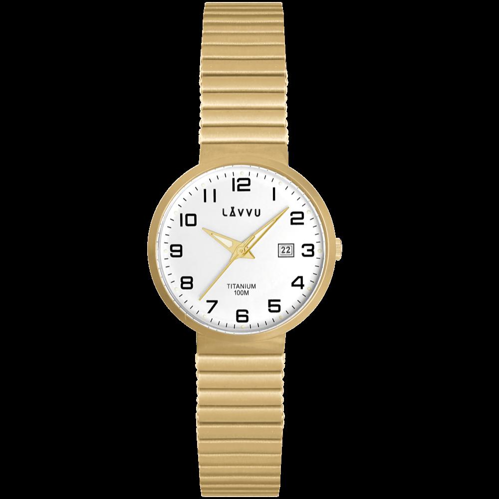 Titanové pružné hodinky s vodotěsností 100M LAVVU LUNDEN Small Gold
