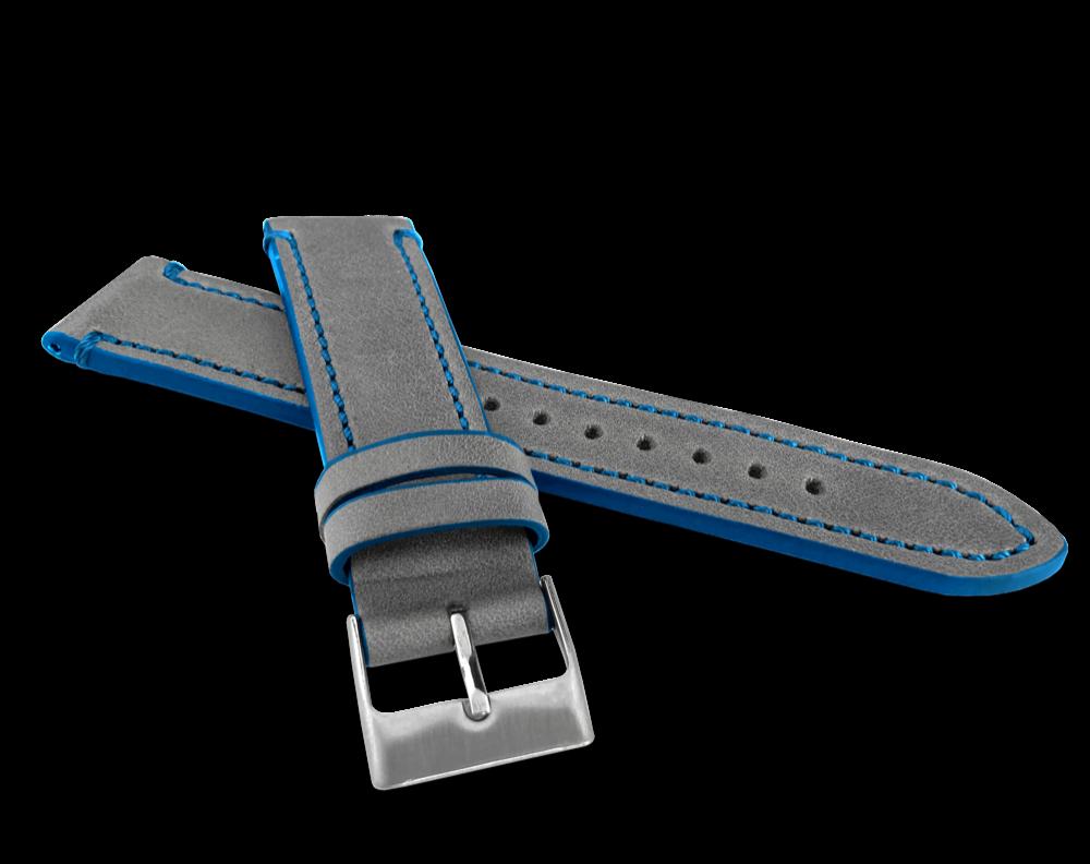 LAVVU Šedý modře prošitý řemínek LAVVU TAILOR z luxusní kůže Top Grain - 22 LSPAL22
